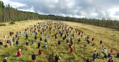 Cinema 4k Rising aerial view above the silent people field, in suomussalmi,.. Stock Footage