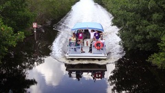 Tour Boat on Canal in Everglades National Park, Florida Stock Footage