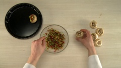 Top view of chef mixes stuffing in glass bowl Stock Footage