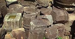 Ancient, Hand Carved Stone Rubble from Angkor Wat Temple in Cambodia Stock Footage