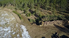 Overhead Aerial of Logging Operation in Black Hills Forest Ponderosa Pine Stock Footage