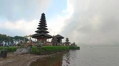Pura Ulun Danu Bratan, a lakeside Hindu Temple in Bali Stock Footage