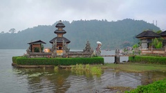 Lakeside Temple and Gardens of Pura Ulun Danu Bratan in Bali Stock Footage