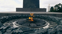 Memorial to the unknown soldiers died during World War II with eternal fire Stock Footage