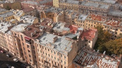 Aerial view or shot of historical city center of Saint Petersburg with old tin Stock Footage