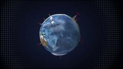Rotating earth, communication technology, network world map satellite Stock Footage