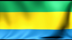 Gabon Flag. Background Seamless Looping Animation. 4K High Definition Video Stock Footage