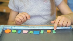 Kid learning counting with colors and shapes Stock Footage