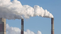 Air Pollution Clouds of Smoke Coming From the Chimneys Stock Footage