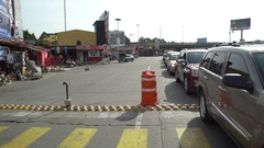 Cars lined up at Mexican border Stock Footage