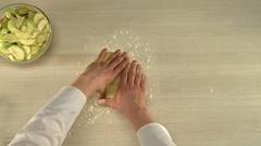 Manual dough cutting Stock Footage
