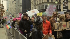 Protesters Shout and Hold Political Protest Signs On 5th Ave In Mid-Town Stock Footage