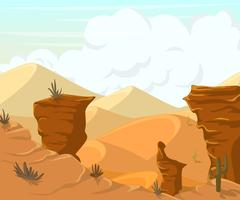 Desert landscape with cactuses and mountains. Piirros