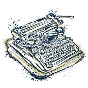 Vintage typewriter with ink splashes. Piirros