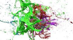 Inks splashes in white background 3d illustration Stock Illustration