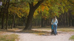 Young mother walking with her baby in stroller in autumn park at windy day Stock Footage