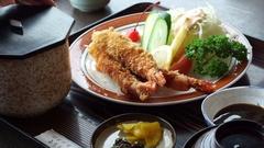 Japanese shrimp or prawn tempura food meal set for lunch Stock Footage