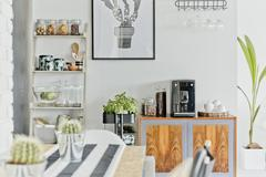 Modern dining room area Stock Photos