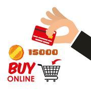 Buy online games shop credit card coin score Stock Illustration