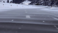 Drifting snow over winter Altai road, in Chemal Region Stock Footage