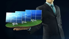 Business man has on hand green energy concept build animation solar panel black Stock Footage