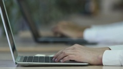 Overworked tired woman shutting laptop, annoyed office lady taking glasses off Stock Footage