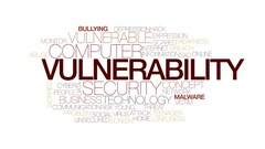 Vulnerability animated word cloud, text design animation. Kinetic typography. Stock Footage