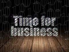 Finance concept: Time for Business in grunge dark room Stock Illustration