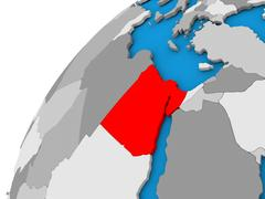 Egypt on globe in red Piirros