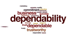 Dependability animated word cloud, text design animation. Stock Footage