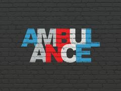 Healthcare concept: Ambulance on wall background Stock Illustration