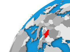 Serbia on globe in red Stock Illustration