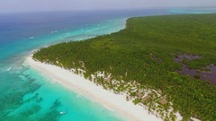 Green island with white sand beaches and crystal clear water of the ocean view Stock Footage