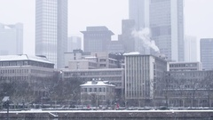 Frankfurt Skyline and Waterside in Snow Fall Stock Footage