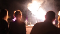 Fire show performance by circus artists Stock Footage