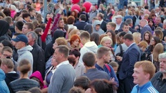 A crowd of people on the street. Russia, Saratov, September 1, 2016 Stock Footage