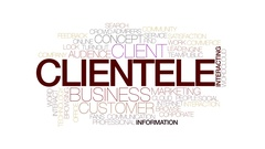 Clientele animated word cloud, text design animation. Kinetic typography. Stock Footage