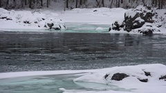 Floating of ice and sludge on Altai river Katun in winter season Stock Footage