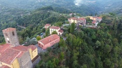 Aerial shot, gorgeous classic small italian village on the hill flyover.. Stock Footage