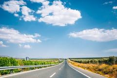 Beautiful asphalt freeway, motorway, highway in Andalusia, Spain Stock Photos