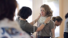 Image course lesson how to tie a scarf,neckerchief with a stylist Stock Footage