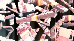 Abstract CGI motion graphics with falling euro bills Stock Footage