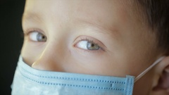 The boy's face close medical bandage closeup Stock Footage