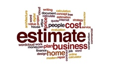 Estimate animated word cloud, text design animation. Stock Footage