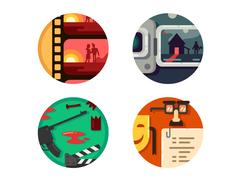 Genre cinema set icons Stock Illustration