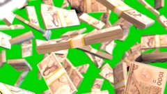 Falling mexican peso bills on green screen Stock Footage
