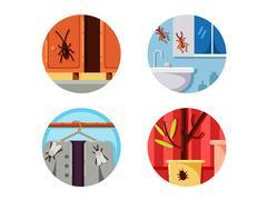 Household vermin set icons Stock Illustration