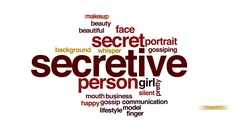 Secretive animated word cloud, text design animation. Stock Footage