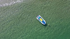 Aerial View of the Beach With Jet Ski Stock Footage
