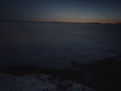 Mist moving over the valley of the sunrise timelapse Stock Footage